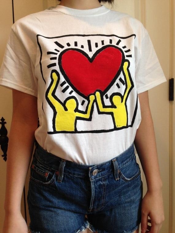 Keith Haring kuakuayu HJN Estilo Das Mulheres Do Vintage T-Shirt do Coração Do Tumblr Moda Bonito Gráfico Tee Branco