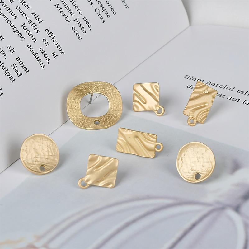 Pressing grain Akin temperament European and American round long ear pin ear nail DIY earrings material accessories