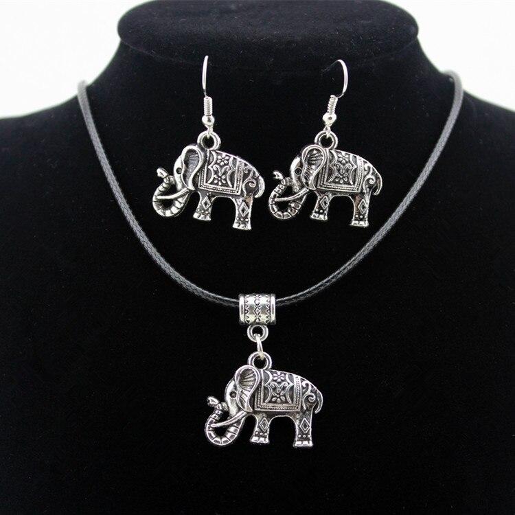 Новое поступление, ювелирный набор с бусинами, хит продаж, ожерелье из сплава маленького слона, серьги из двух экологичных материалов