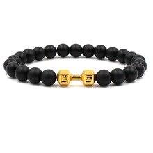 Hohe Qualität Neue Schwarz Matte Perle Armband für Mann Fitness Fit Leben Gebet Hantel Gold Armband Barbell Motivation Gym Schmuck