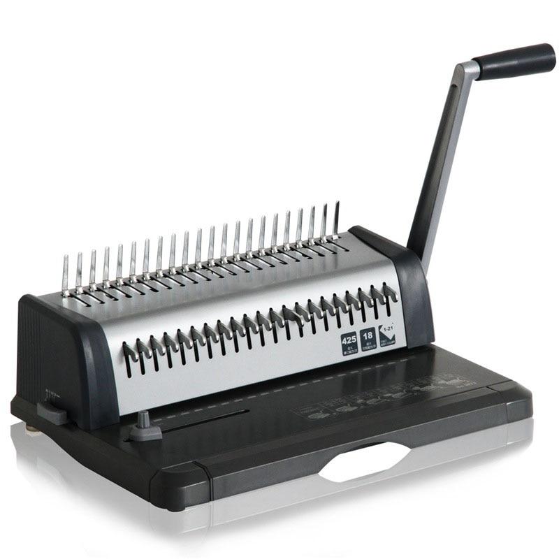 Máquina de encuadernación A4 tipo peine pesado 21 agujeros perforadora artículo perforador delantales abrazadera doble punzón encuadernación Machi