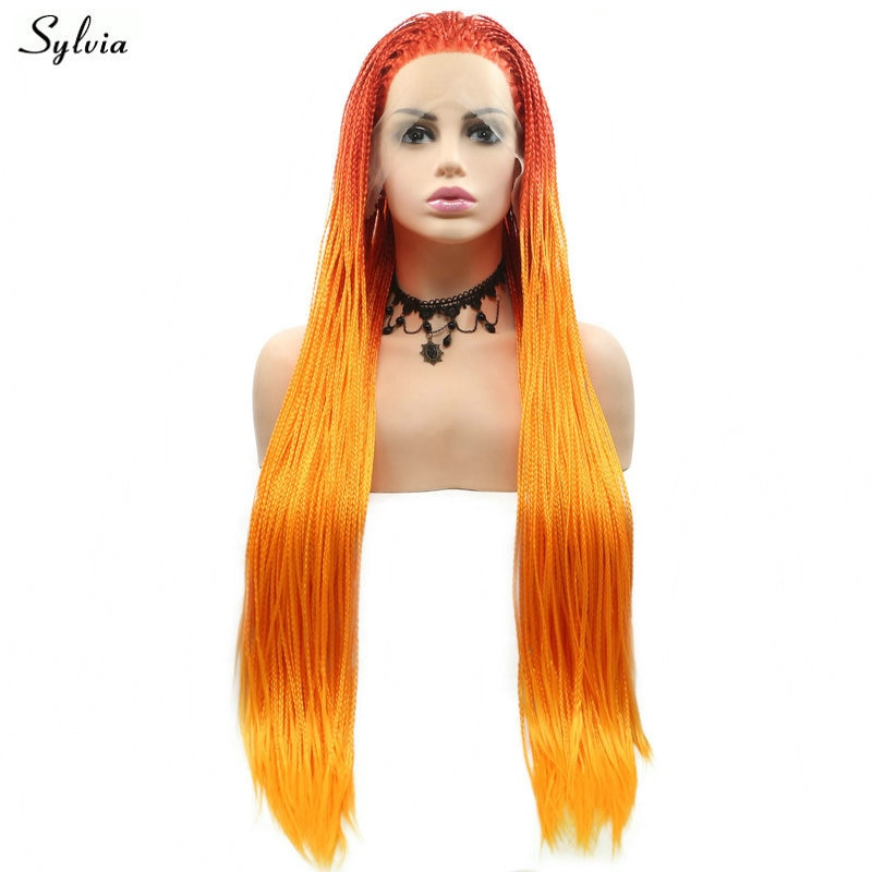 Pelucas hechas a mano trenzadas estilo Afro América Pelo Largo pelucas sintéticas con encaje frontal para mujeres Ombre naranja brillante peluca con trenzas