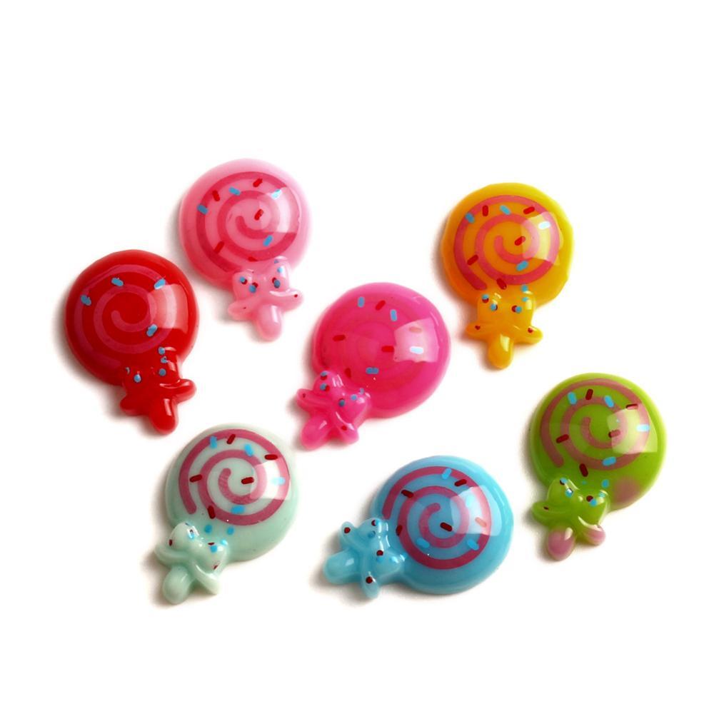 50 Uds resina mixta Lollipop cabujón Flatback decoración con adornos manualidades adornos para Scrapbooking Diy Accesorios