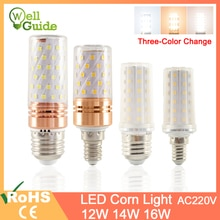 GreenEye E27, bombilla LED E14, lámpara LED 3W 12W 14W 16W SMD2835 AC 220V 240V, Bombilla de maíz, candelabro, vela, luz LED para decoración del hogar