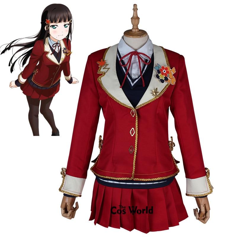 Школьная форма Love Live Sunshine Aqours Kurosawa Dia с красным Кленовым листом, рубашка, жилет, платье, наряд, костюмы для косплея аниме
