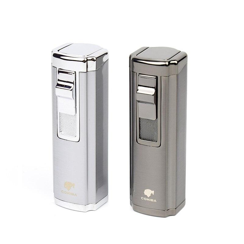 Mechero para cigarrillo cigarro COHIBA, encendedor de 3 llama tipo soplete, encendedor de bolsillo, encendedor de Gas butano rellenable, Color gris y plateado
