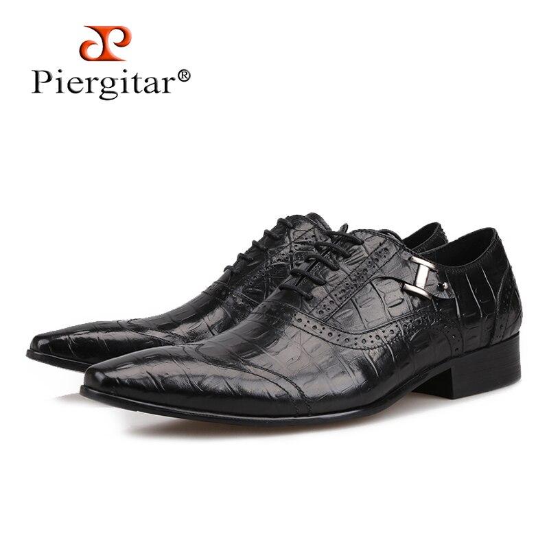 Piergitar 2018 new Black Genuine Leather Men Dress Shoes Formal Business Shoes Wedding Dresses Shoes Lace-up men Oxford Shoes