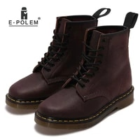 2018 new fashion dark red boots martin boots genuine leather ankle boot promotion sale