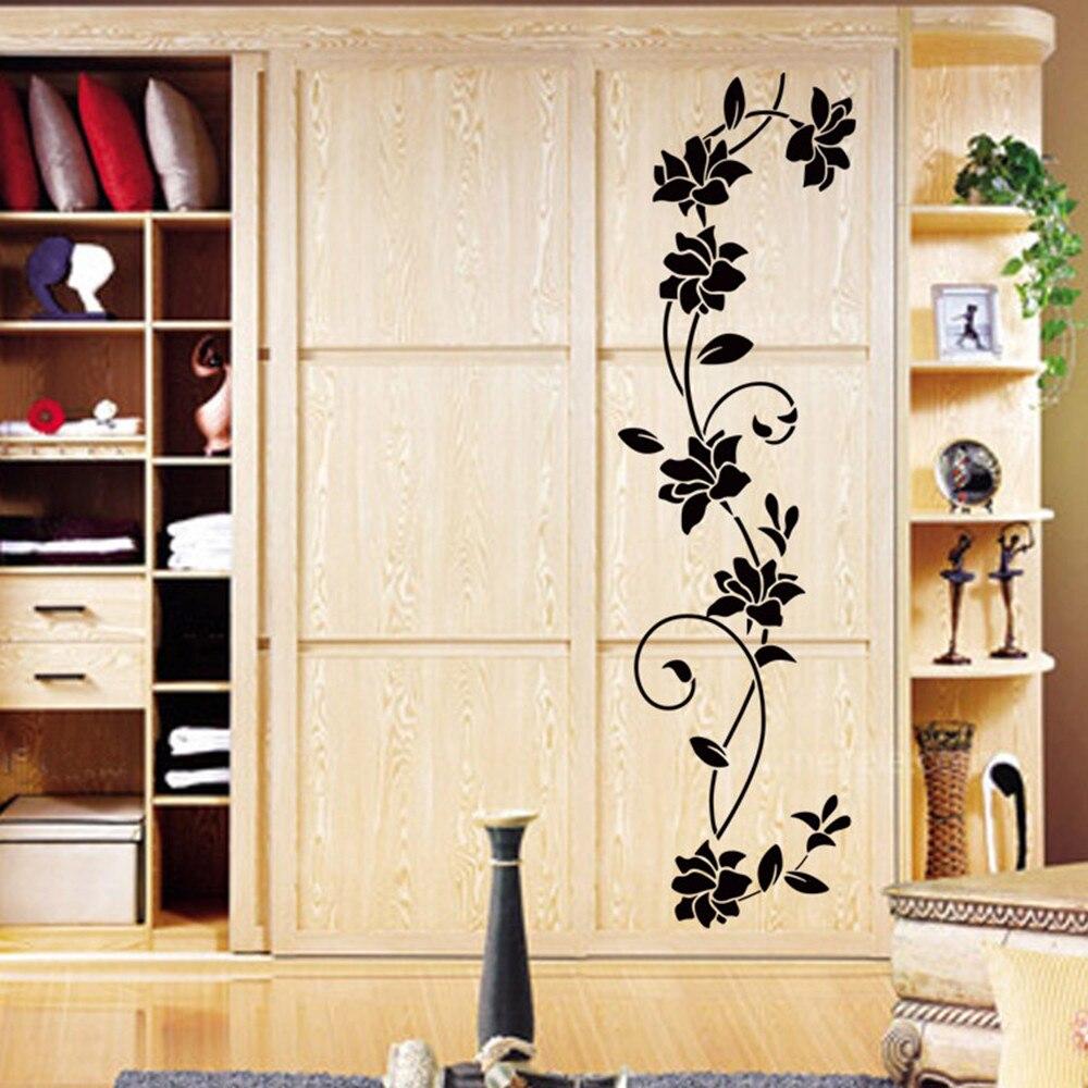 Nueva pegatina de pared DIY para armario, bonitas pegatinas de vid con flores, vinilo negro, Mural extraíble, arte para hogar, decoración creativa de flores para dormitorio