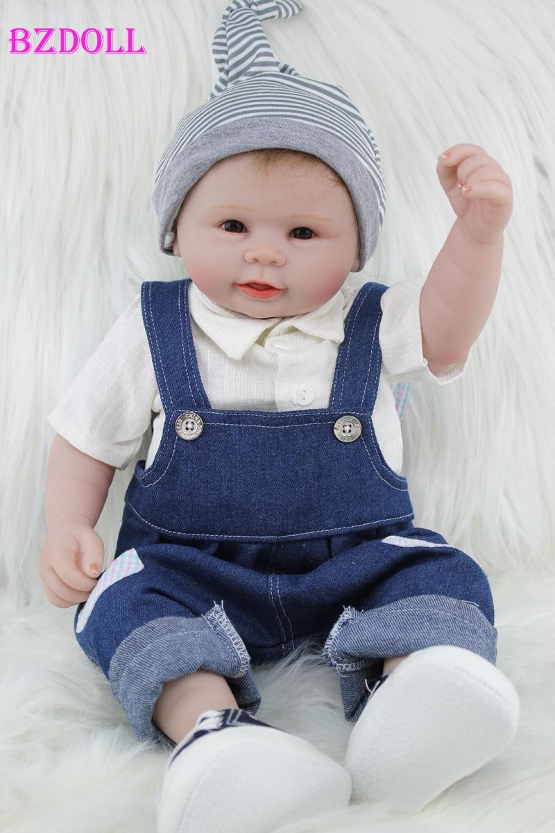 55 CM Full Silicone Reborn Boy Doll Toys Realistic Vinyl Newborn Babies Lovely Birthday Gift Present Bathe Shower Toy