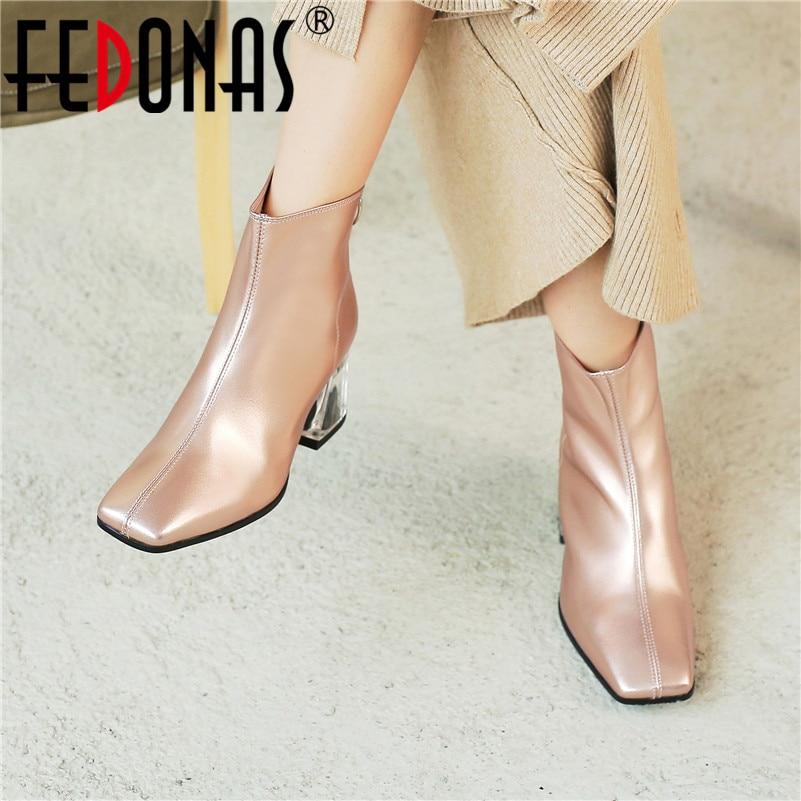 FEDONAS الخريف الشتاء الأزياء جلد طبيعي النساء حذاء من الجلد الخلفي سستة عالية الكعب حزب النادي الليلي أحذية امرأة أحذية بوت قصيرة