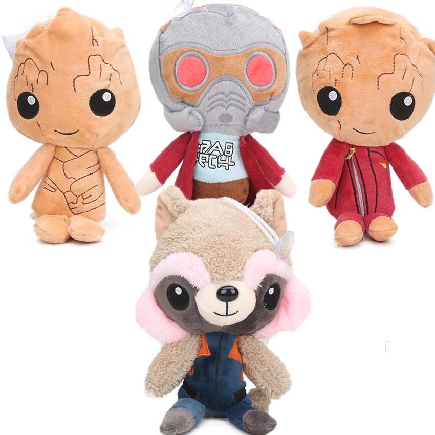 Lindo 24cm cohete mapaches Hombre árbol Star-Lord juguetes de peluche de guardianes de la galaxia 2 suave animal relleno regalos de muñecas para niños felpa