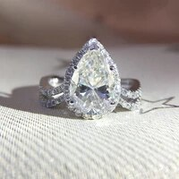 pear brilliant moissanite ring solid 14k white gold 2 5ct carat prong setting solitaire engagement ring for women