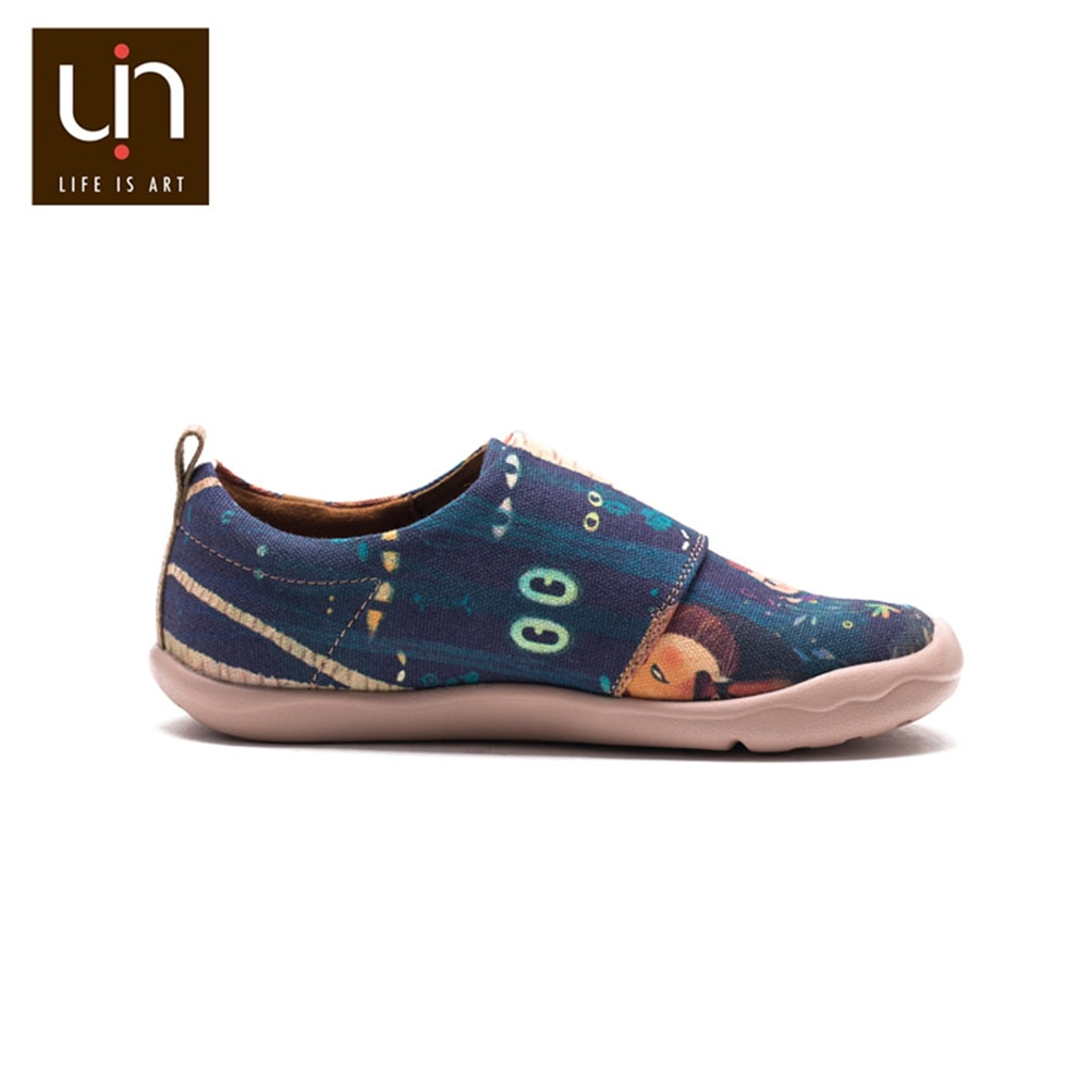 UIN Timid Lion Design Painted Canvas Shoes Kids Easy Hook & Loop Sneakers for Girl/Boy Fashion Children Casual Lightweight enlarge
