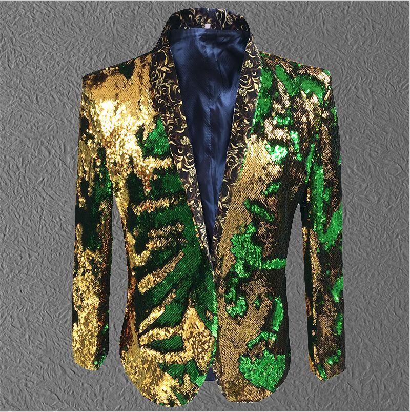 سترة الرجال الترتر الذهب الأخضر السترة الرجال دعوى معطف الذكور زي حفلة موسيقية الزفاف العريس الزي المغني الأسود مرحلة الحفلات
