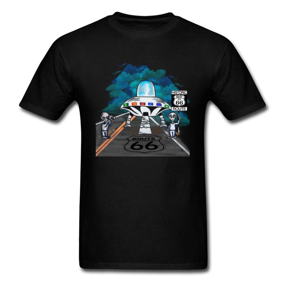 Camisetas Alien Route 66 para hombre, ropa de verano 2018, camiseta para hombre con dibujos animados UFO, divertidas Camisetas De buen juego, camisetas de moda de Anime negro