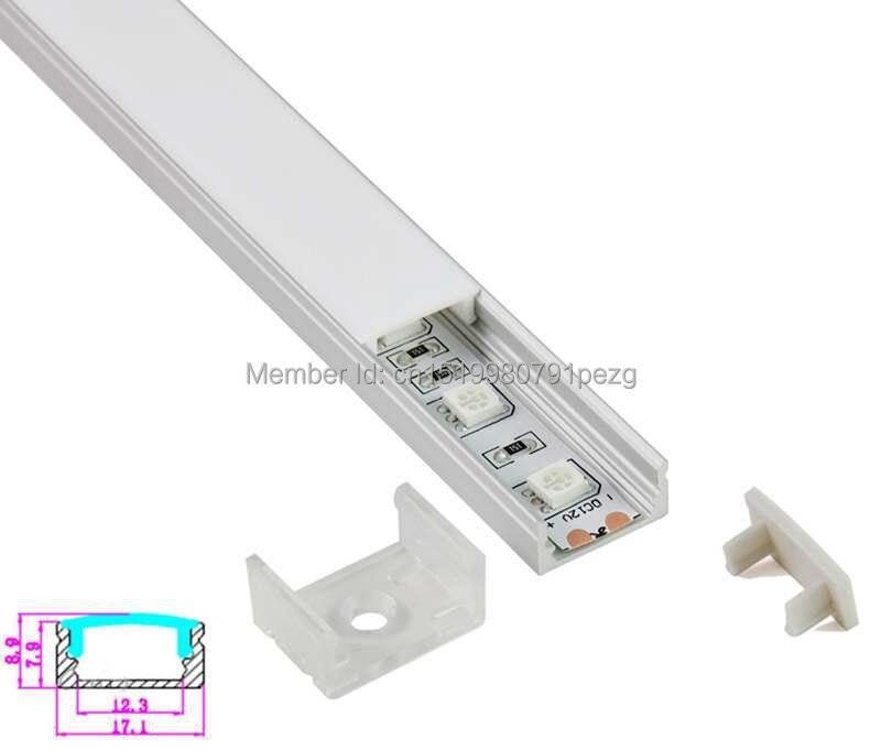 Perfil de canal Led tipo U de 10 set/lote para tira de led 5050 o extrusión de aluminio de canal led 1m para pared empotrada