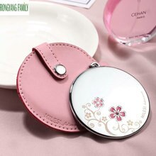 Make-up Compact Taschen Spiegel Schmetterling Blume Metall Prinzessin Frauen Spiegel Tragbare PU Tasche Kosmetische Beauty-Tools Decor Spiegel