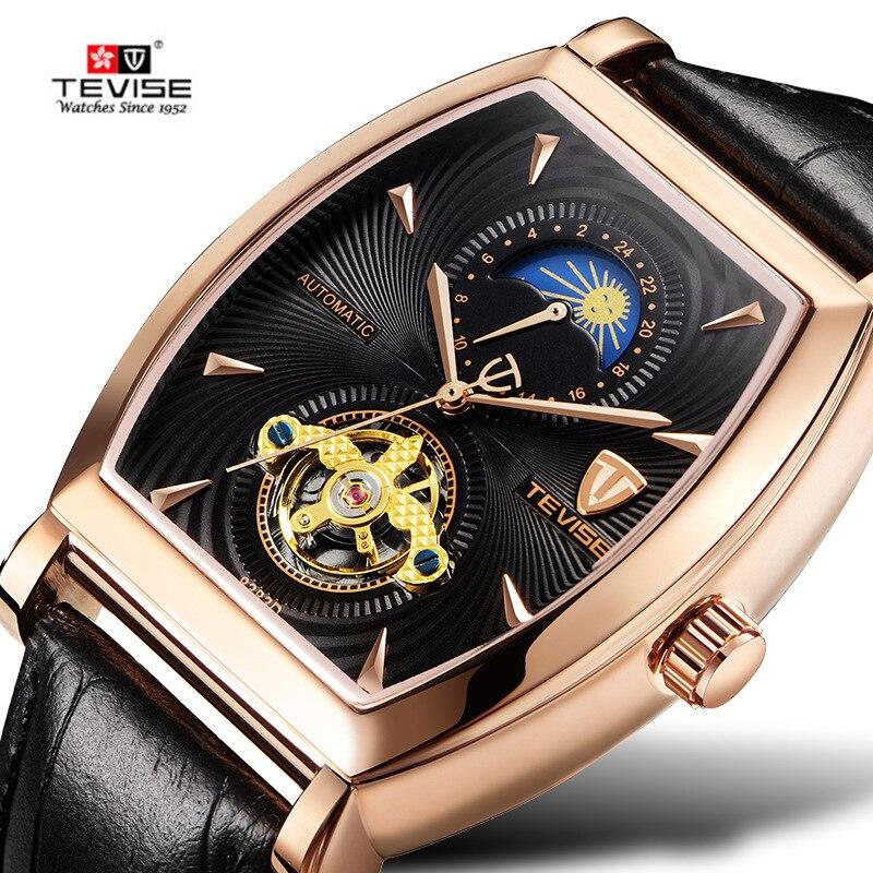 TEVISE Watch Men Sport Automatic Mechanical Mens Watch Luxury Square Genuine Leather Waterproof Moon