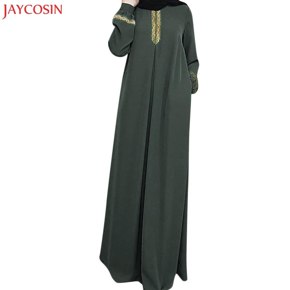 Vestido Maxi musulmán de talla grande JAYCOSIN de poliéster estampado Abaya Jilbab caftán informal vestido largo negro abaya z0413