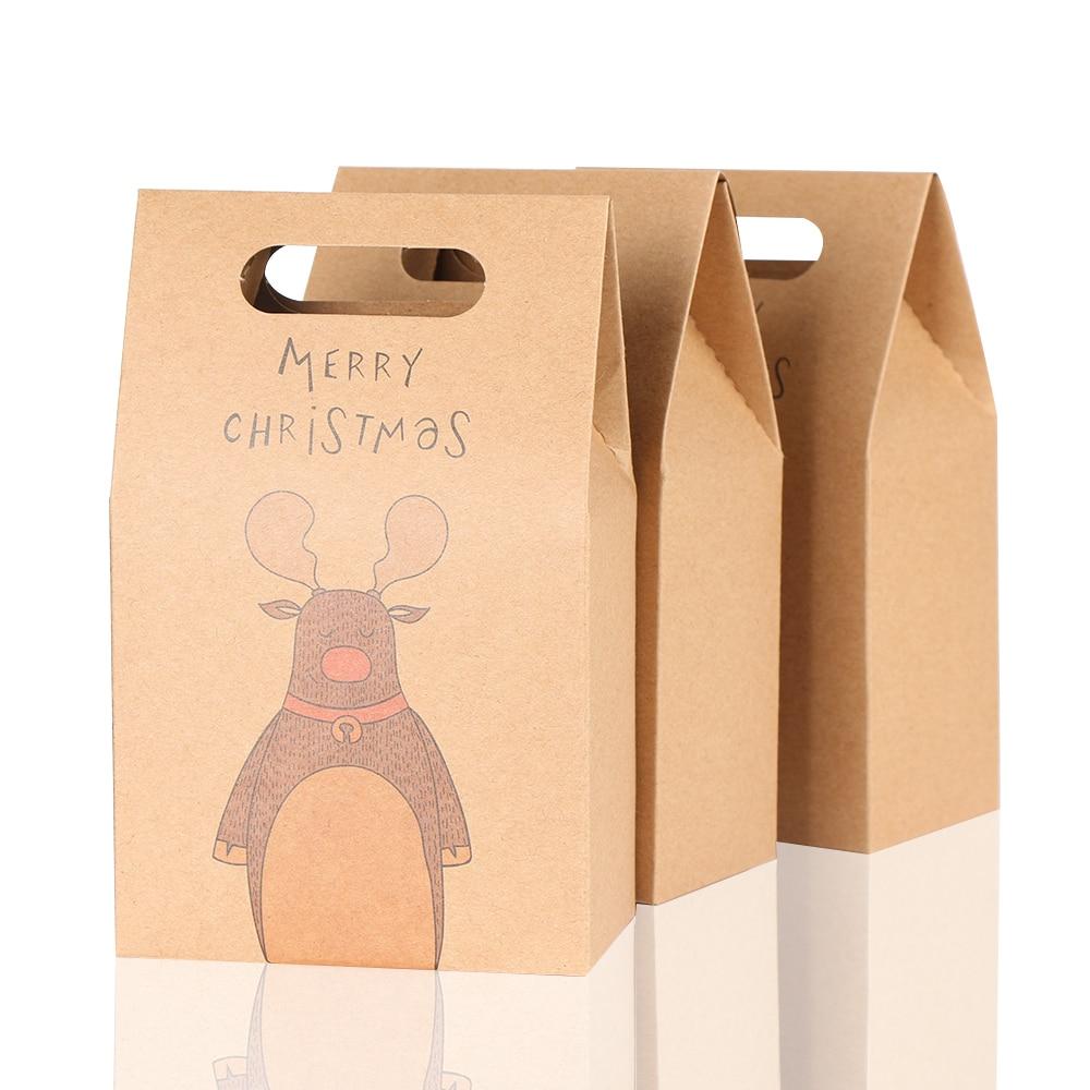 1 pçs papel kraft festa de natal biscoitos doces presente saco de presente de luxo saco de casamento caixa de doces de natal acessórios de festa de natal