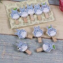 10 pcs/paquet joli Mini Clip en bois mignon mon voisin Totoro Photo papier carte postale artisanat bricolage Clips avec fourniture de corde de chanvre