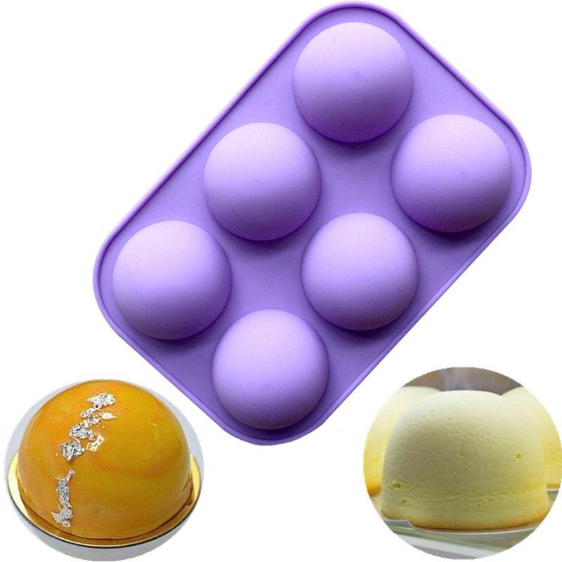 Molde de silicona con esfera de Media bola de 6 agujeros, moldes antiadherentes de silicona para hornear, molde artístico para pastel de chocolate, pudin, gelatina, cupcakes, molde artístico, utensilios para manualidades