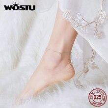 WOSTU 100% Reale Dellargento Sterlina 925 Braccialetto Alla Caviglia Per Le Donne Bracciali A Catena Per Le Donne di Moda 2019 Gioielli Originali FIT009