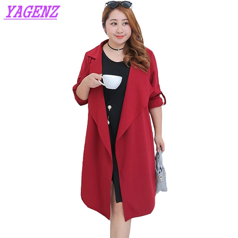 Abrigo cortaviento de talla grande para mujer primavera otoño gabardina fina holgada temperamento para mujer moda vino tinto abrigo cárdigan largo B582