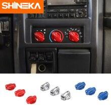 SHINEKA ABS الداخلية تكييف الهواء التبديل زر الديكور غطاء الكسوة ملصقات ل جيب رانجلر TJ 1997-2006 سيارة التصميم