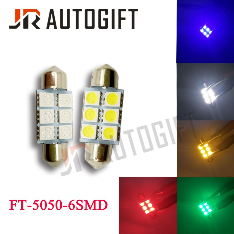 10 Uds. Festoon 5050 6SMD 31/36/39mm/41mm luz LED para coche 24V12V Blanco/azul/Verde/rojo/amarillo FT C5W luz Interior para puerta de coche