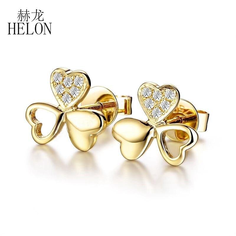HELON venta sólido 18K oro amarillo Delacate trébol regalo de Navidad fina diamante Natural pendientes de mujer joyería fina pendientes