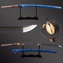 Épée de samouris en acier damas   De haute qualité épée de samouris en acier forgé lame pliée, Hamon en métal Katana véritable plié