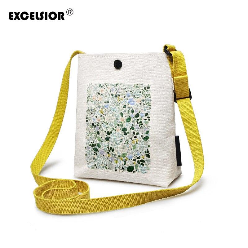 EXCELSIORL Fresh Canvas Women's Handbag Mini Flap New Arrival Small Flap Lady Shoulder Bag Crossbody Messenger Bag Beach Bag