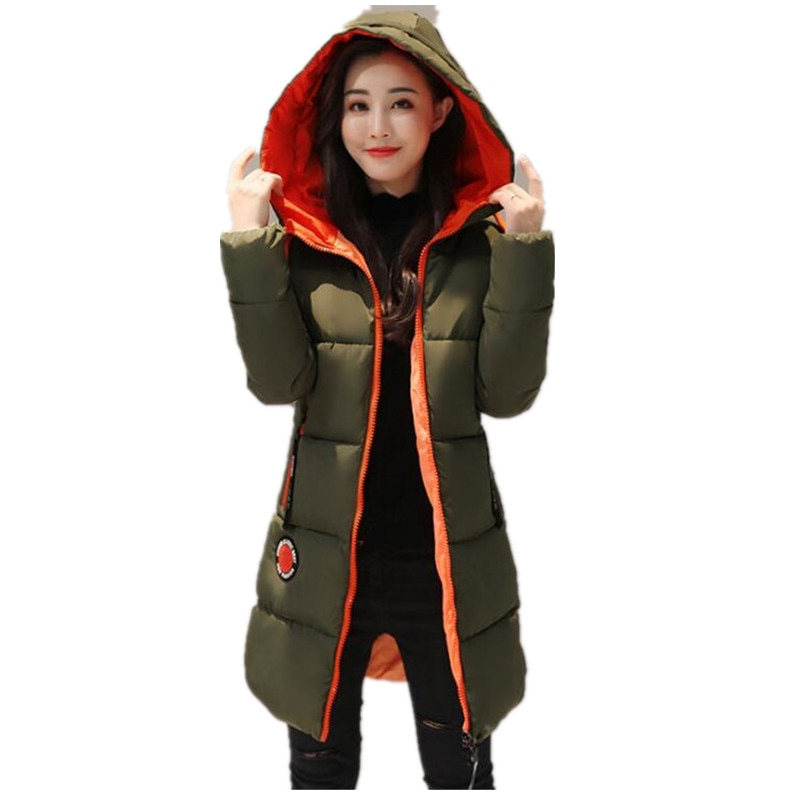 Chaqueta de invierno 2019, Parkas gruesas y largas para mujer, prendas de vestir con capucha para mujer, abrigo cálido Delgado, acolchado de algodón para nieve, gran venta de ropa K037