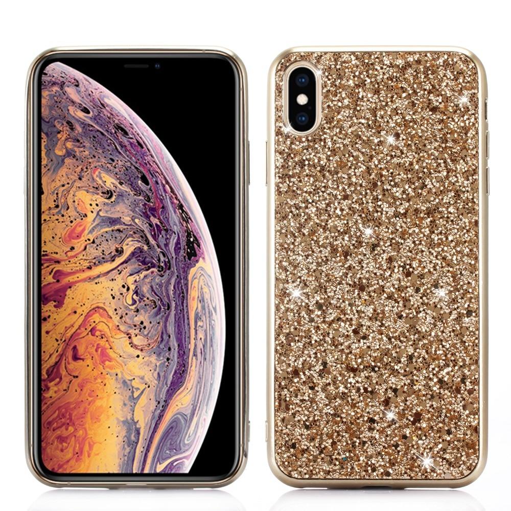 Para o iphone x xr xs max caso glitter silicone bling cristal lantejoulas capa para iphone 7 8 plus 11 pro max caso de luxo chapeamento tpu