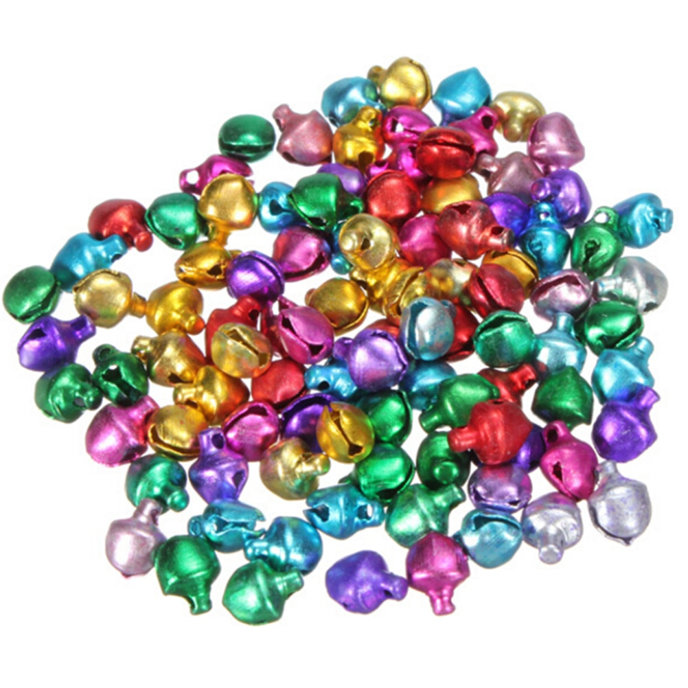 100pcs/lot Mix Colors Loose Beads Small Jingle Bells Christmas Decoration Gift Wholesale Colorful DIY Crafts Handmade 6/8/10MM 50pcs christmas jingle bells metal little bells decoration colorful mix color party diy beads christmas jewelry accessories