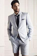 Dernier manteau pantalon conceptions gris hommes costume court pantalon veste de plage été personnalisé Simple élégant smoking 2 pièces Terno Masculino 70
