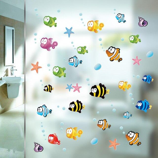 % Bajo el agua peces estrella de mar etiqueta para pared de burbuja para habitaciones de Niños de dibujos animados vivero baño habitación de los niños casa decoración de pared calcomanías