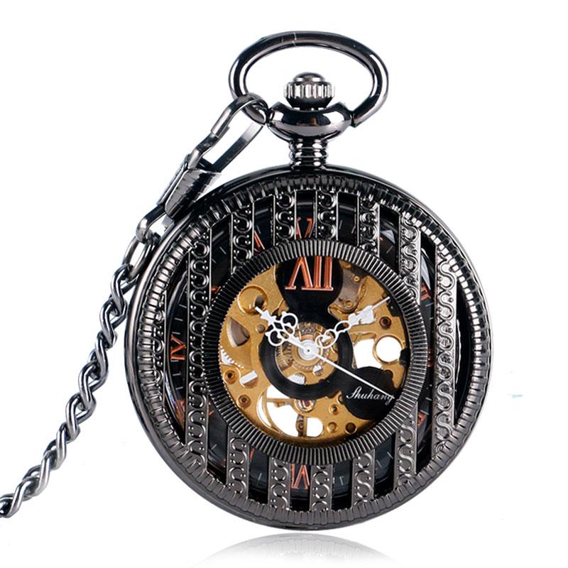 SHUHANG Черные Полосатые римские цифры Механические карманные часы стимпанк Резные Fob часы для мужчин и женщин подарок с цепочкой