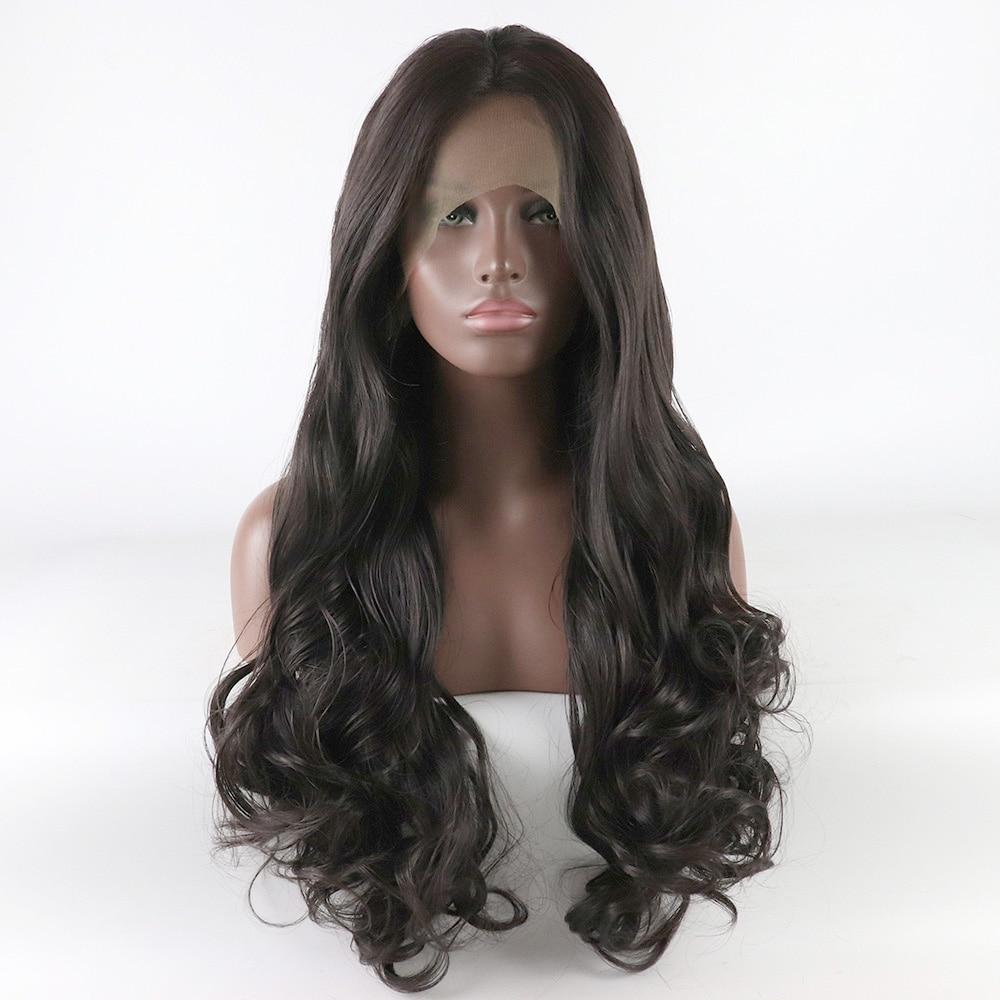 شعر مستعار صناعي طويل مموج بمظهر طبيعي للنساء ، باروكة أمامية من الدانتيل ، بدون غراء ، بني داكن ، شريط متوسط