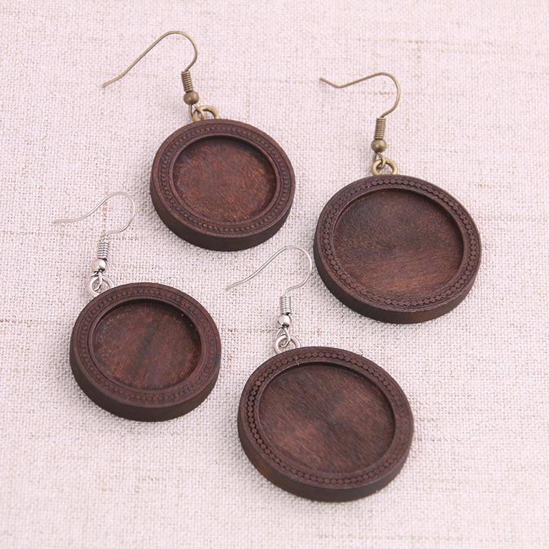 4pcs 20/25mm Wood Cabochon Earring Base Settings Blank Stainless Steel HooksDiy Accessories For Making Earrings