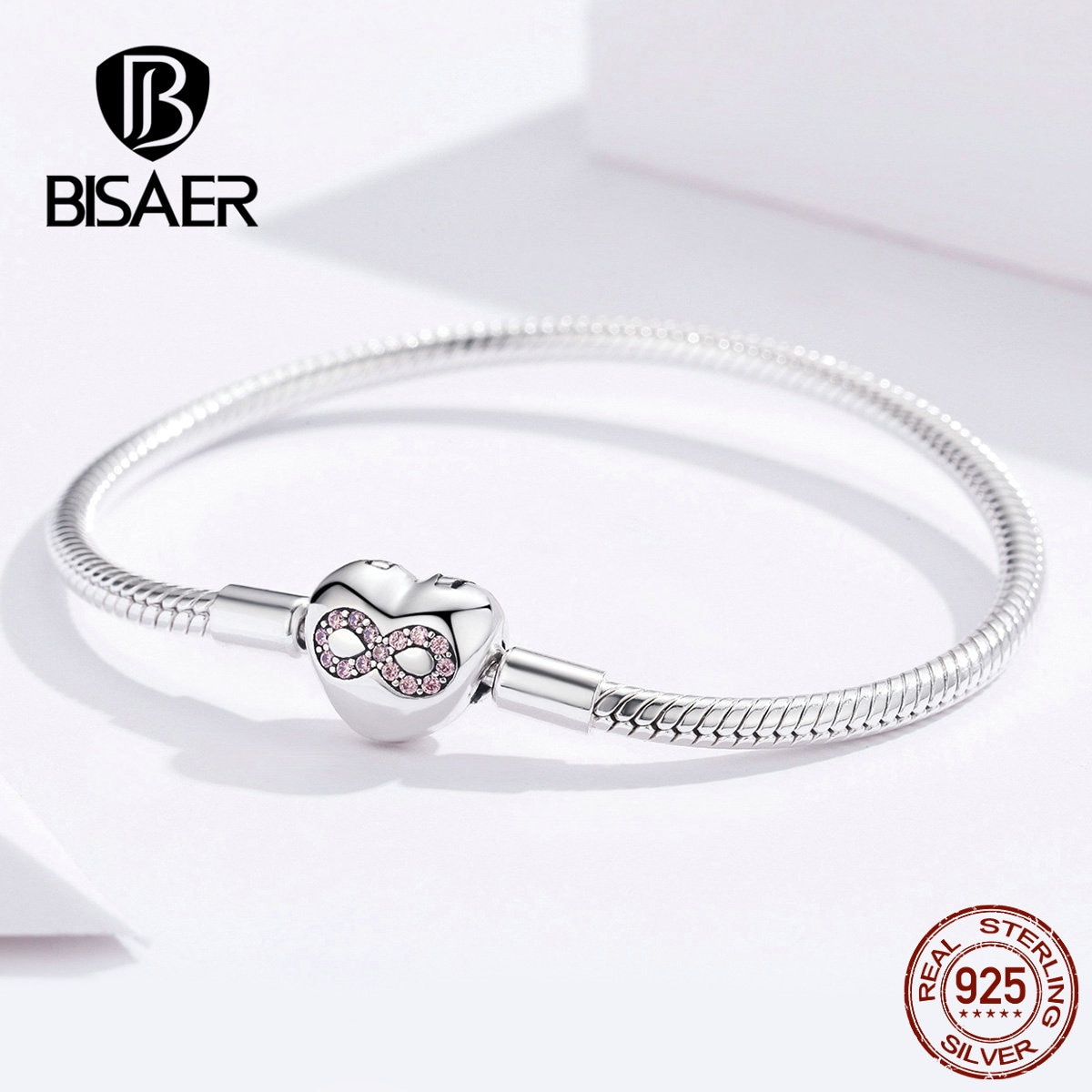 BISAER 925 Plata de ley con forma de corazón cierre infinito amor infinito Femme pulseras de plata para mujer joyería Pulseira ECB142
