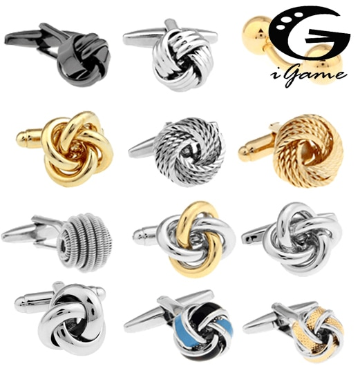 Free shipping Black Cufflinks for men fashion knot design top quality copper hotsale cufflinks whoel