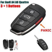 Carcasa para control remoto de coche con 3 + 1 botones, hoja sin cortar para Audi A6 A4 A2 A8 TT Q7 2005 2006 2007 2008 2009 2010 2011