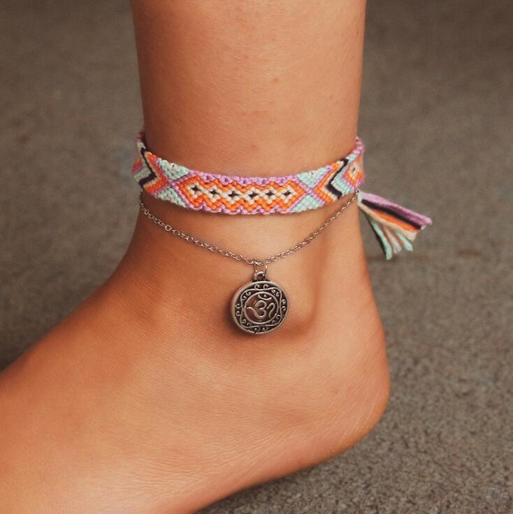 Tobilleras tejidas de runas Vintage a la moda para mujer, brazaletes de algodón hechos a mano, tobillera de pie, regalos de joyería de playa de verano para mujer, 2 unids/set