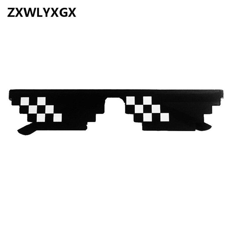 Zxwlyxgx popular óculos de mosaico 8 bit mlg pixelated óculos de sol feminino masculino marca bandido vida festa óculos de sol do vintage