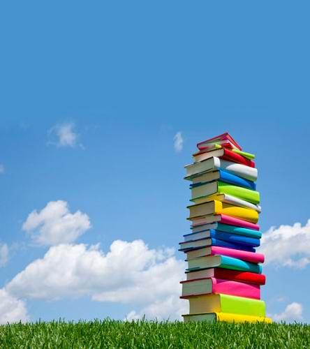 Fondos recién llegados para estudio fotográfico 5x7ft decoración de libros cielo azul y nubes blancas tela de fondo de fotografía