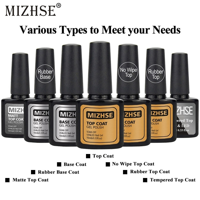 MIZHSE 7 Uds Topcoat Nageldesign Gel de goma UV tapa lacada sin capa adhesiva sin limpiar la parte superior mate esmalte de uñas Diseño de uñas