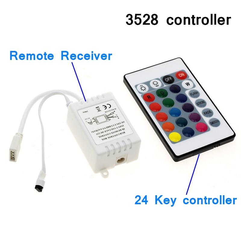 Controlador RGB DC12V con 24 teclas, IR, mando a distancia, para SMD3528 2835, tira de luces LED RGB, Mini controlador sin batería con receptor de caja